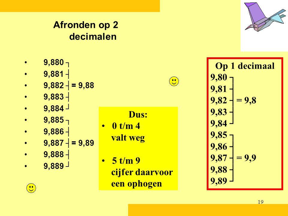 19 Afronden op 2 decimalen •9,880 ┐ •9,881 ┤ •9,882 ┤= 9,88 •9,883 ┤ •9,884 ┘ •9,885 ┐ •9,886 ┤ •9,887 ┤= 9,89 •9,888 ┤ •9,889 ┘ Op 1 decimaal 9,80 ┐ 9,81 ┤ 9,82 ┤= 9,8 9,83 ┤ 9,84 ┘ 9,85 ┐ 9,86 ┤ 9,87 ┤= 9,9 9,88 ┤ 9,89 ┘ Dus: • 0 t/m 4 valt weg • 5 t/m 9 cijfer daarvoor een ophogen