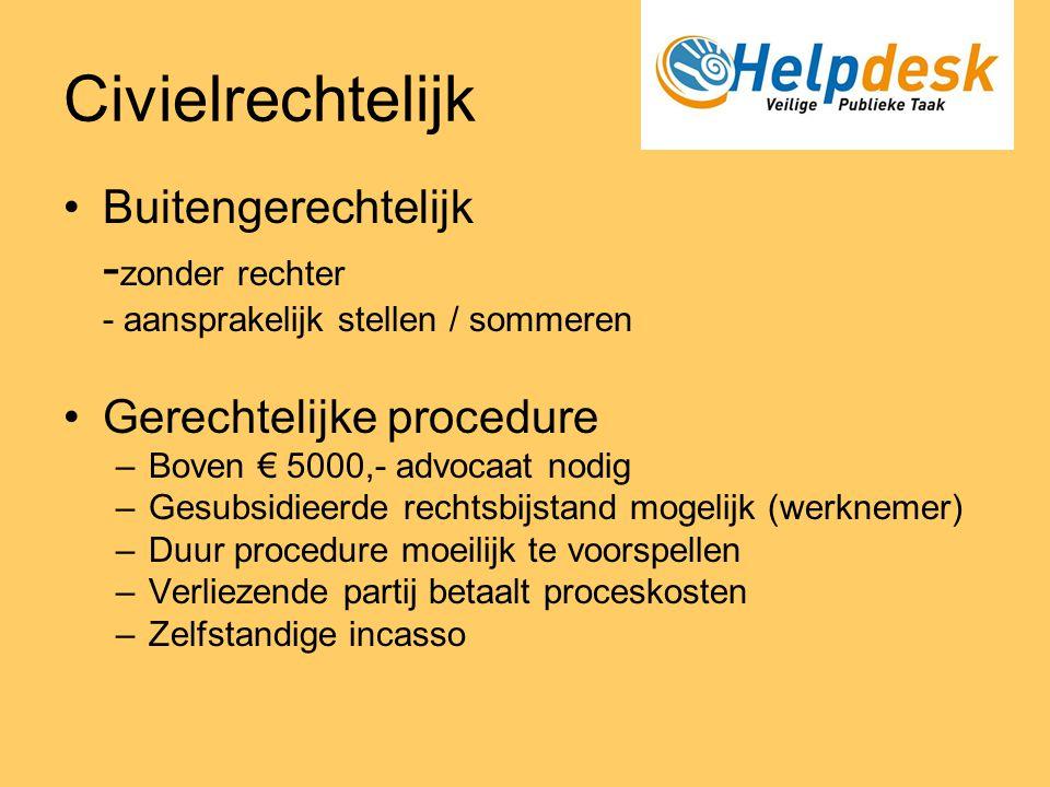 Civielrechtelijk •Buitengerechtelijk - zonder rechter - aansprakelijk stellen / sommeren •Gerechtelijke procedure –Boven € 5000,- advocaat nodig –Gesu
