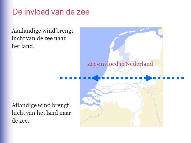 De invloed van de zee Aanlandige wind brengt lucht van de zee naar het land. Aflandige wind brengt lucht van het land naar de zee. Zee-invloed in Nede