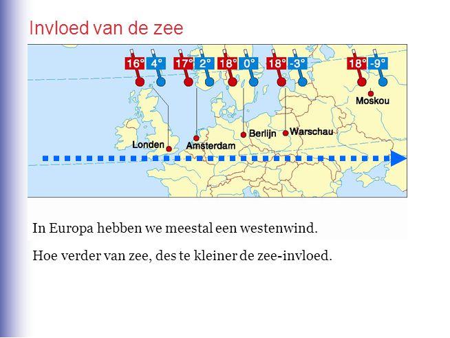 Invloed van de zee In Europa hebben we meestal een westenwind. Hoe verder van zee, des te kleiner de zee-invloed.