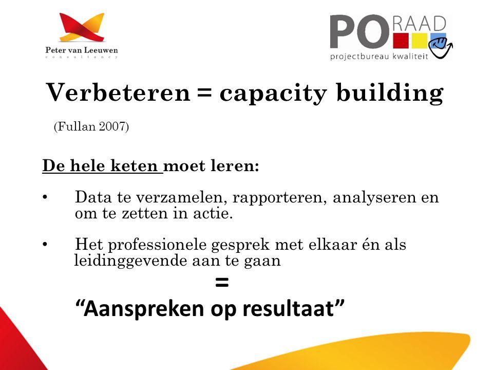 Verbeteren = capacity building (Fullan 2007) De hele keten moet leren: • Data te verzamelen, rapporteren, analyseren en om te zetten in actie. • Het p