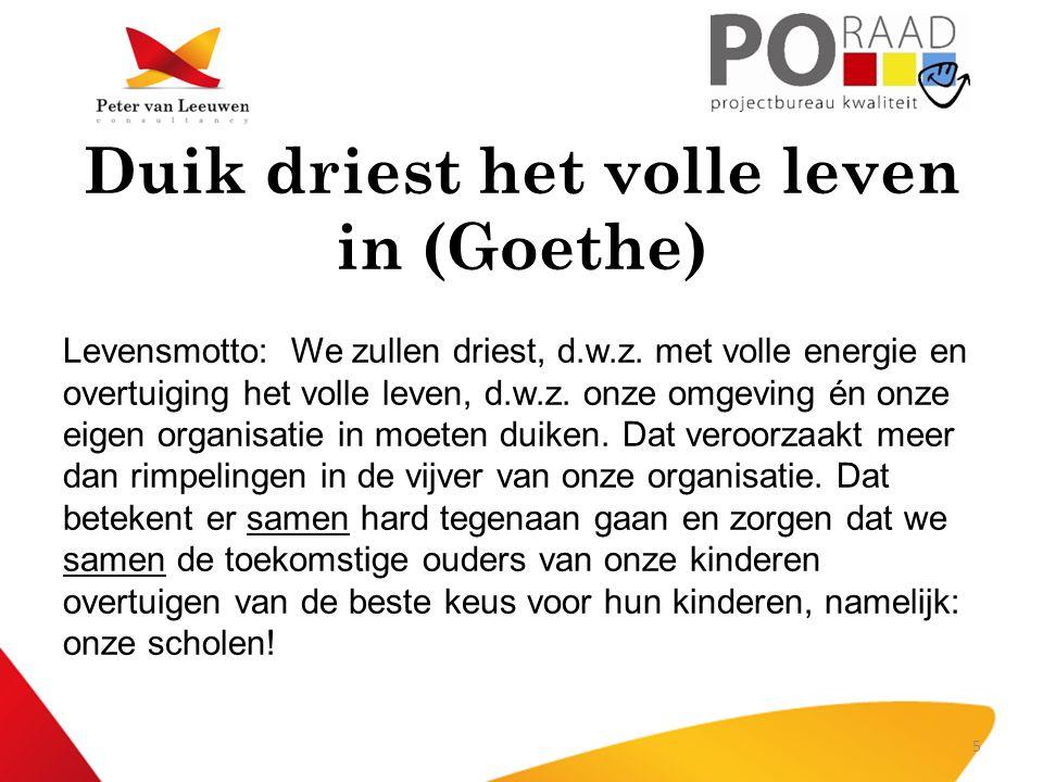 Duik driest het volle leven in (Goethe) Levensmotto: We zullen driest, d.w.z. met volle energie en overtuiging het volle leven, d.w.z. onze omgeving é