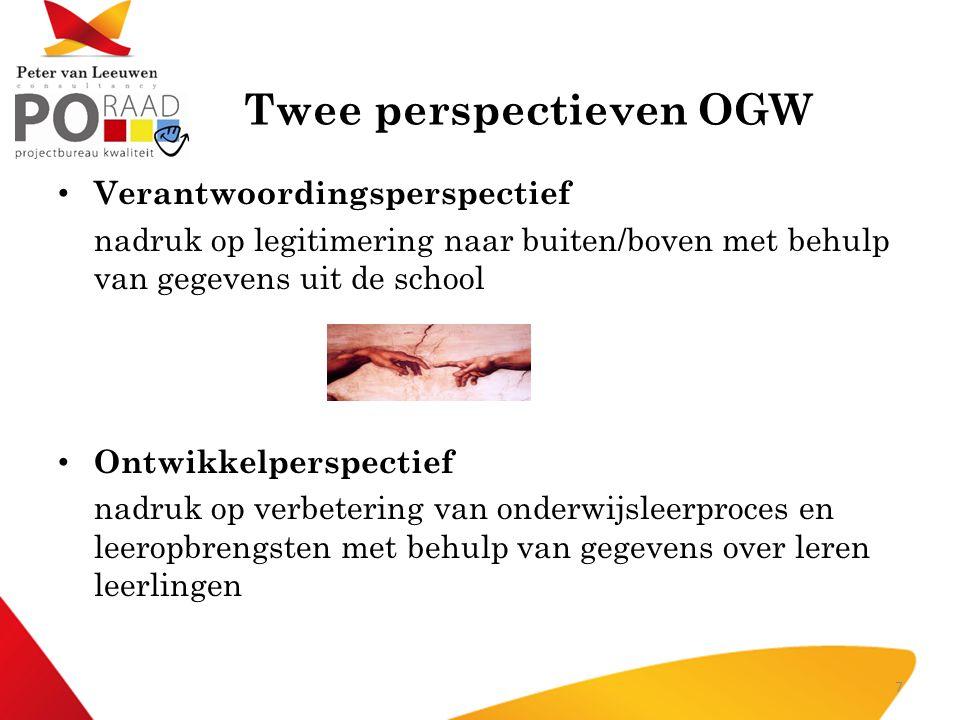 Twee perspectieven OGW • Verantwoordingsperspectief nadruk op legitimering naar buiten/boven met behulp van gegevens uit de school • Ontwikkelperspect