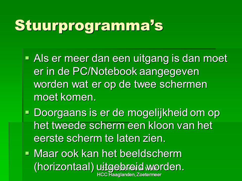 22-04-2008 Kick de Wolff HCC Haaglanden, Zoetermeer Stuurprogramma's  Als er meer dan een uitgang is dan moet er in de PC/Notebook aangegeven worden
