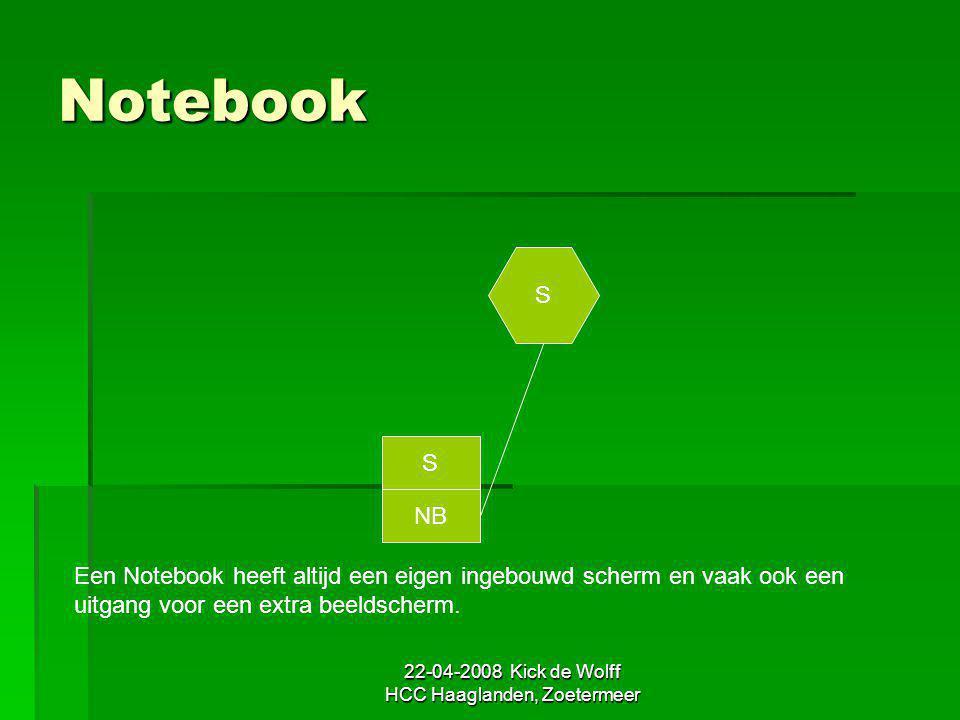 22-04-2008 Kick de Wolff HCC Haaglanden, Zoetermeer Notebook S NB S Een Notebook heeft altijd een eigen ingebouwd scherm en vaak ook een uitgang voor