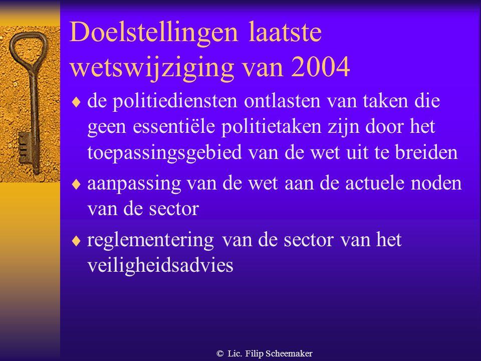 © Lic. Filip Scheemaker 1. Doelstellingen van de wet  verbeteren van de kwaliteit van de dienstverlening  elke vorm van machtsoverschrijding of inme
