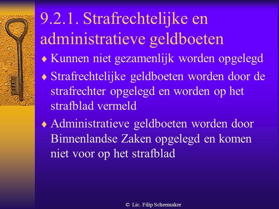 © Lic. Filip Scheemaker 9.2. sancties  Strafrechtelijke en administratieve geldboeten (inclusief administratieve minnelijke schikking)  Administrati