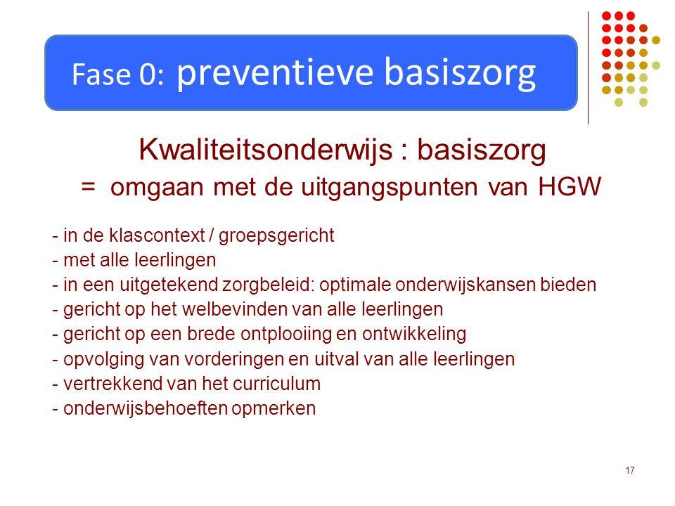 17 Kwaliteitsonderwijs : basiszorg = omgaan met de uitgangspunten van HGW - in de klascontext / groepsgericht - met alle leerlingen - in een uitgetekend zorgbeleid: optimale onderwijskansen bieden - gericht op het welbevinden van alle leerlingen - gericht op een brede ontplooiing en ontwikkeling - opvolging van vorderingen en uitval van alle leerlingen - vertrekkend van het curriculum - onderwijsbehoeften opmerken Fase 0: preventieve basiszorg
