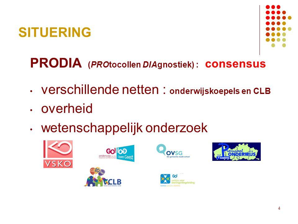 4 SITUERING PRODIA (PROtocollen DIAgnostiek) : consensus • verschillende netten : onderwijskoepels en CLB • overheid • wetenschappelijk onderzoek