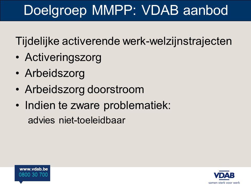 www.vdab.be 0800 30 700 Doelgroep MMPP: VDAB aanbod Tijdelijke activerende werk-welzijnstrajecten •Activeringszorg •Arbeidszorg •Arbeidszorg doorstroom •Indien te zware problematiek: advies niet-toeleidbaar