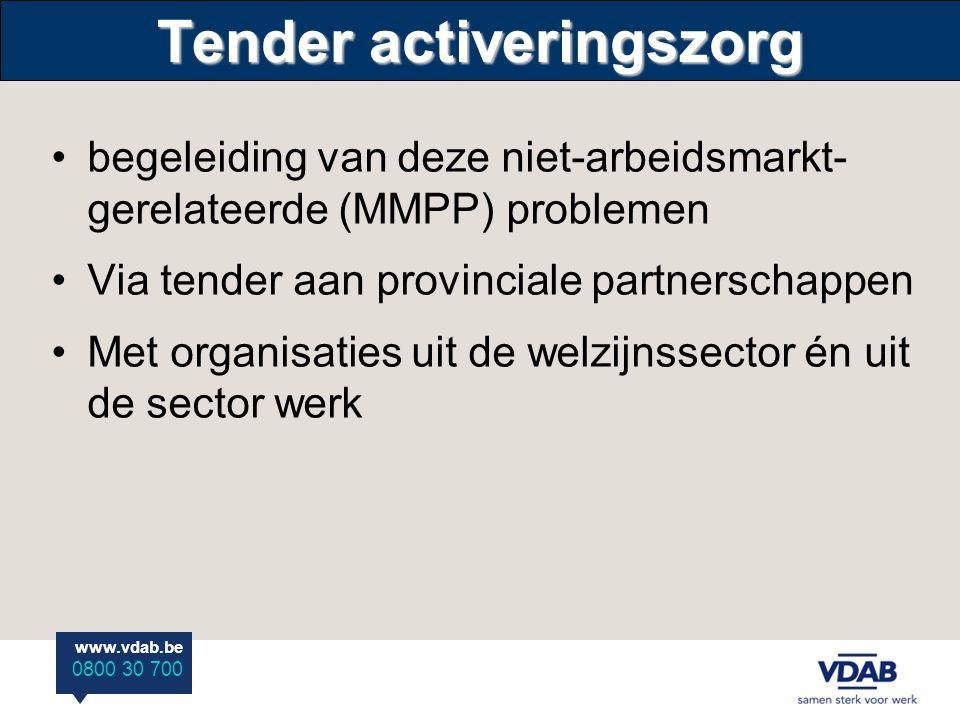 www.vdab.be 0800 30 700 Tender activeringszorg •begeleiding van deze niet-arbeidsmarkt- gerelateerde (MMPP) problemen •Via tender aan provinciale partnerschappen •Met organisaties uit de welzijnssector én uit de sector werk