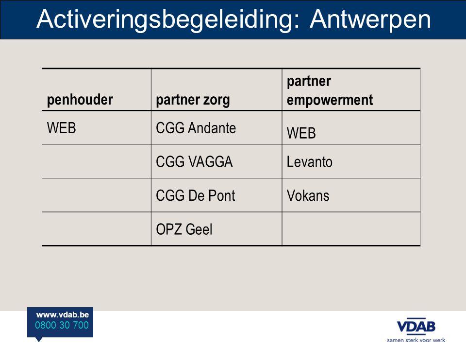 www.vdab.be 0800 30 700 Activeringsbegeleiding: Antwerpen penhouderpartner zorg partner empowerment WEBCGG Andante WEB CGG VAGGALevanto CGG De PontVokans OPZ Geel