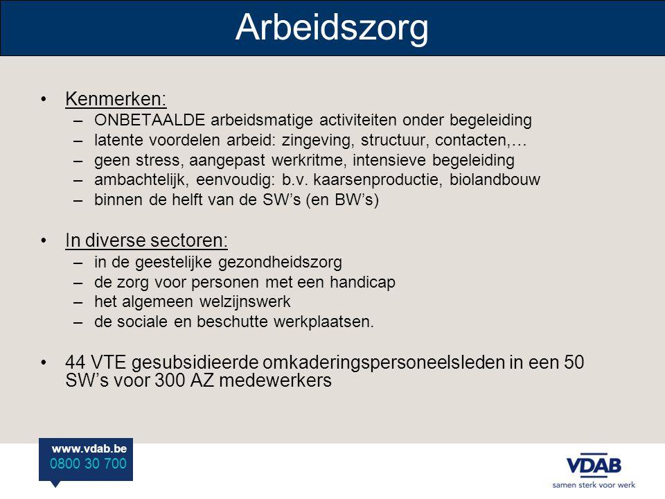 www.vdab.be 0800 30 700 Arbeidszorg •Kenmerken: –ONBETAALDE arbeidsmatige activiteiten onder begeleiding –latente voordelen arbeid: zingeving, structu