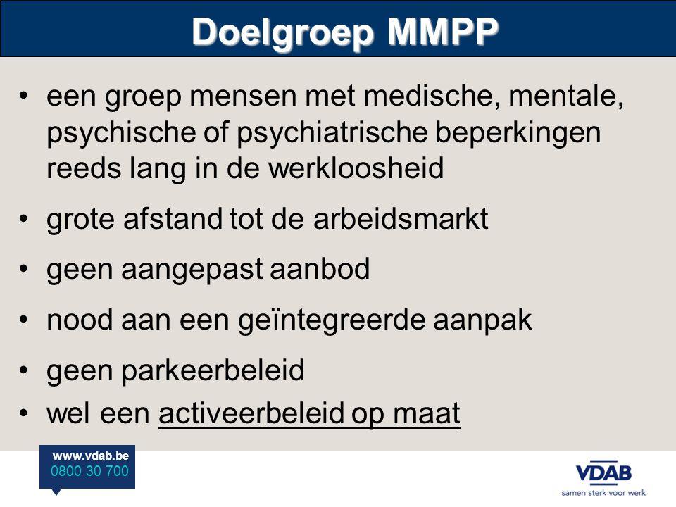 www.vdab.be 0800 30 700 Doelgroep MMPP •een groep mensen met medische, mentale, psychische of psychiatrische beperkingen reeds lang in de werkloosheid