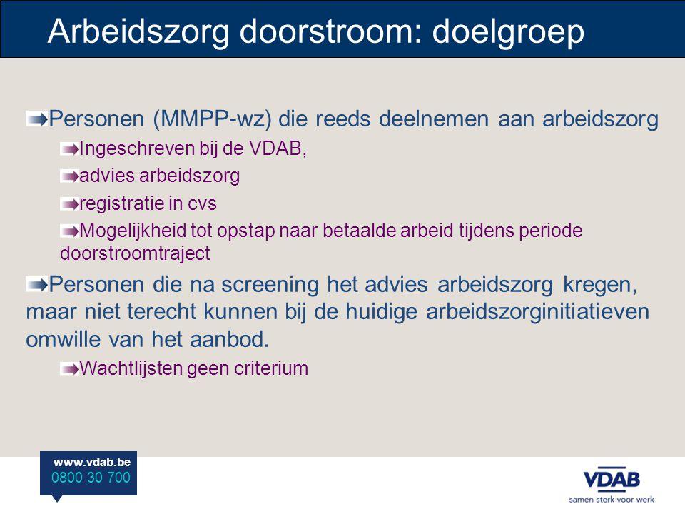 www.vdab.be 0800 30 700 Personen (MMPP-wz) die reeds deelnemen aan arbeidszorg Ingeschreven bij de VDAB, advies arbeidszorg registratie in cvs Mogelij