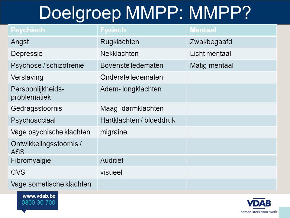 www.vdab.be 0800 30 700 Doelgroep MMPP: MMPP.