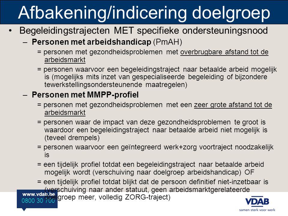 www.vdab.be 0800 30 700 Afbakening/indicering doelgroep •Begeleidingstrajecten MET specifieke ondersteuningsnood –Personen met arbeidshandicap (PmAH)