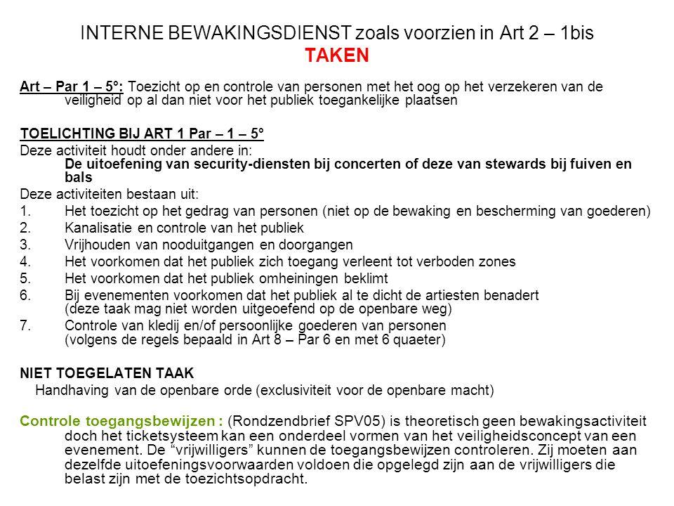 INTERNE BEWAKINGSDIENST zoals voorzien in Art 2 – 1bis TAKEN Art – Par 1 – 5°: Toezicht op en controle van personen met het oog op het verzekeren van