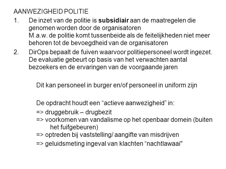 AANWEZIGHEID POLITIE 1.De inzet van de politie is subsidiair aan de maatregelen die genomen worden door de organisatoren M.a.w. de politie komt tussen