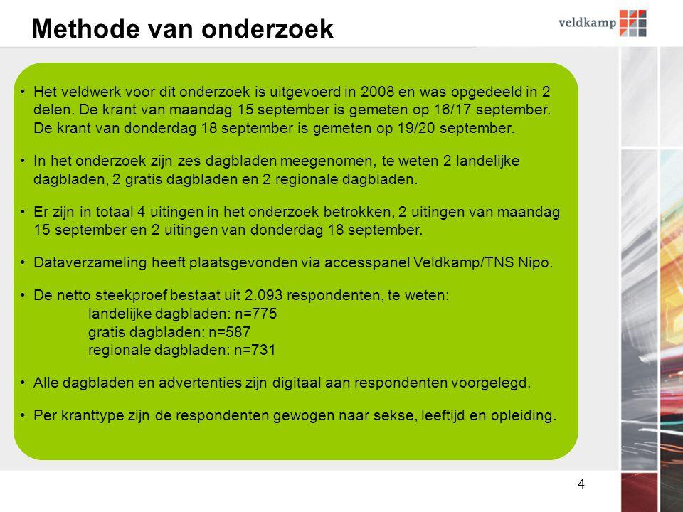4 Methode van onderzoek •Het veldwerk voor dit onderzoek is uitgevoerd in 2008 en was opgedeeld in 2 delen.