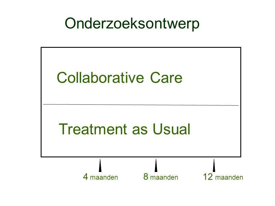 4 maanden 8 maanden Onderzoeksontwerp Collaborative Care Treatment as Usual 12 maanden