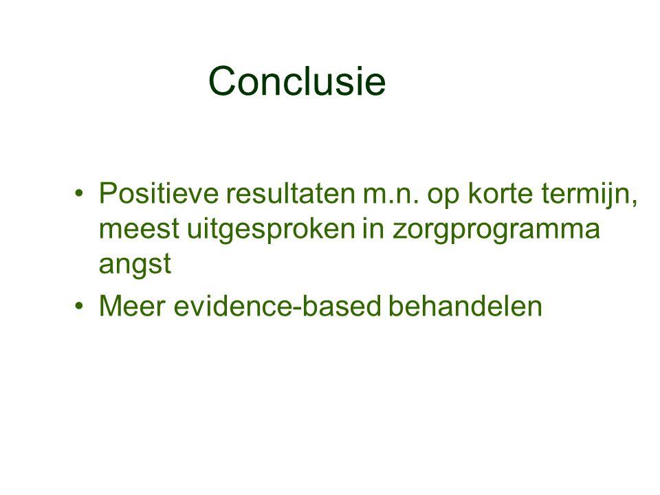 Conclusie •Positieve resultaten m.n. op korte termijn, meest uitgesproken in zorgprogramma angst •Meer evidence-based behandelen