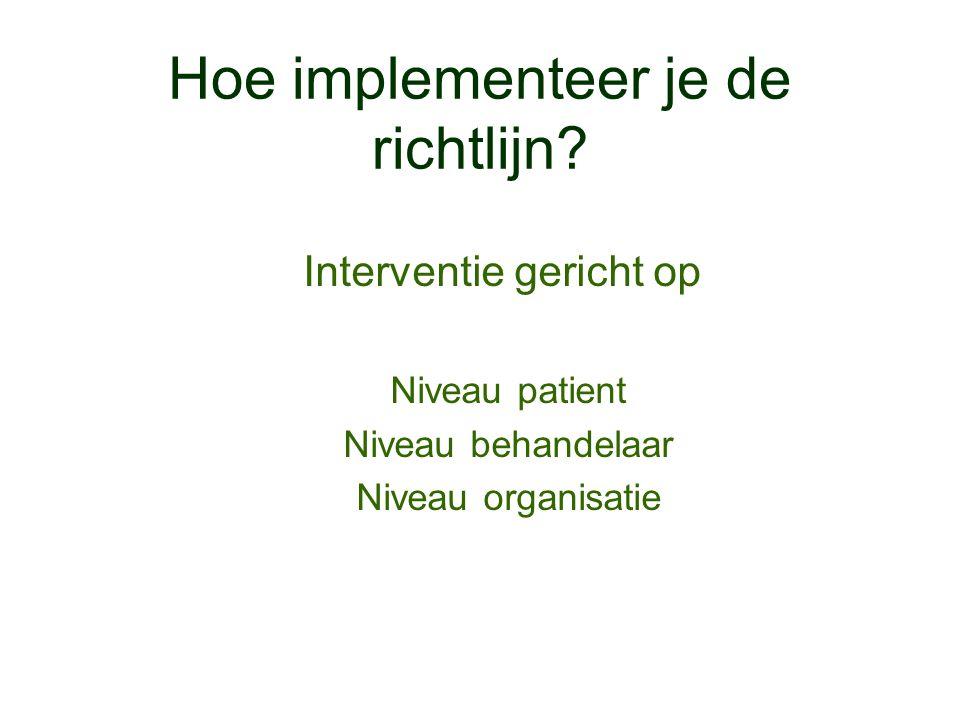 Hoe implementeer je de richtlijn? Interventie gericht op Niveau patient Niveau behandelaar Niveau organisatie