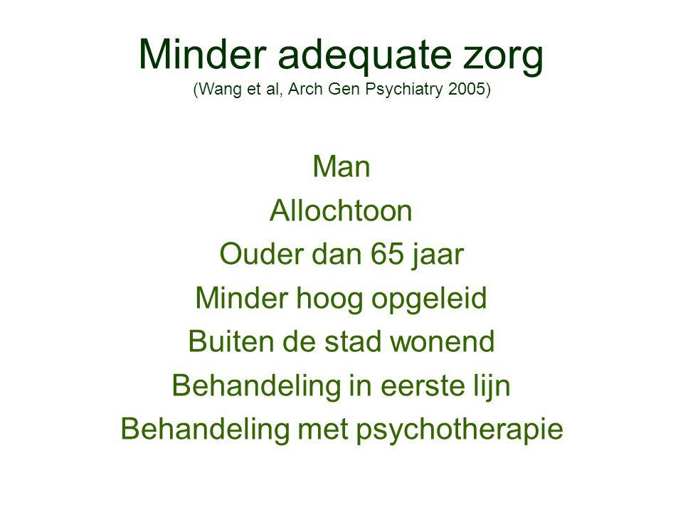 Minder adequate zorg (Wang et al, Arch Gen Psychiatry 2005) Man Allochtoon Ouder dan 65 jaar Minder hoog opgeleid Buiten de stad wonend Behandeling in