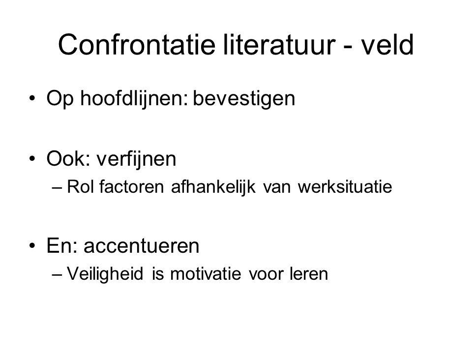 Confrontatie literatuur - veld •Op hoofdlijnen: bevestigen •Ook: verfijnen –Rol factoren afhankelijk van werksituatie •En: accentueren –Veiligheid is
