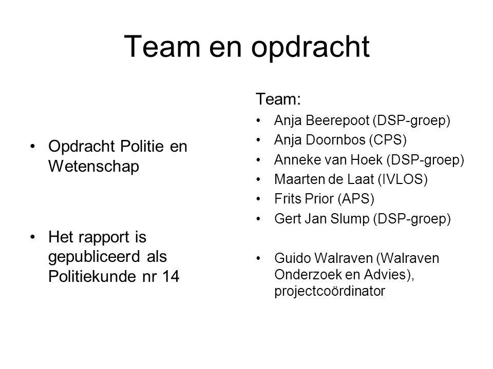 Team en opdracht •Opdracht Politie en Wetenschap •Het rapport is gepubliceerd als Politiekunde nr 14 Team: •Anja Beerepoot (DSP-groep) •Anja Doornbos