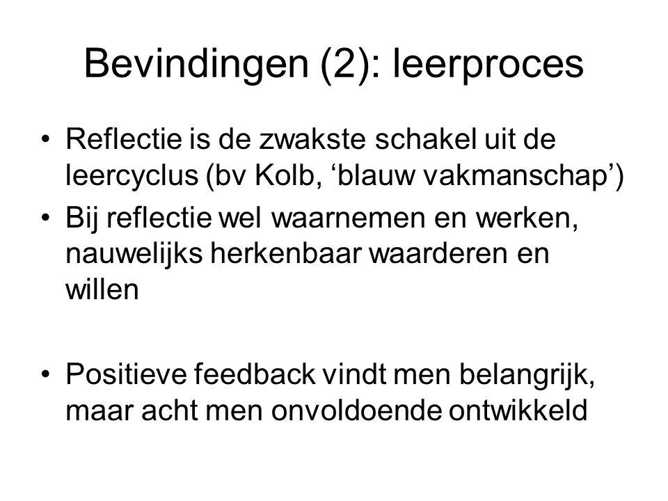 Bevindingen (2): leerproces •Reflectie is de zwakste schakel uit de leercyclus (bv Kolb, 'blauw vakmanschap') •Bij reflectie wel waarnemen en werken,