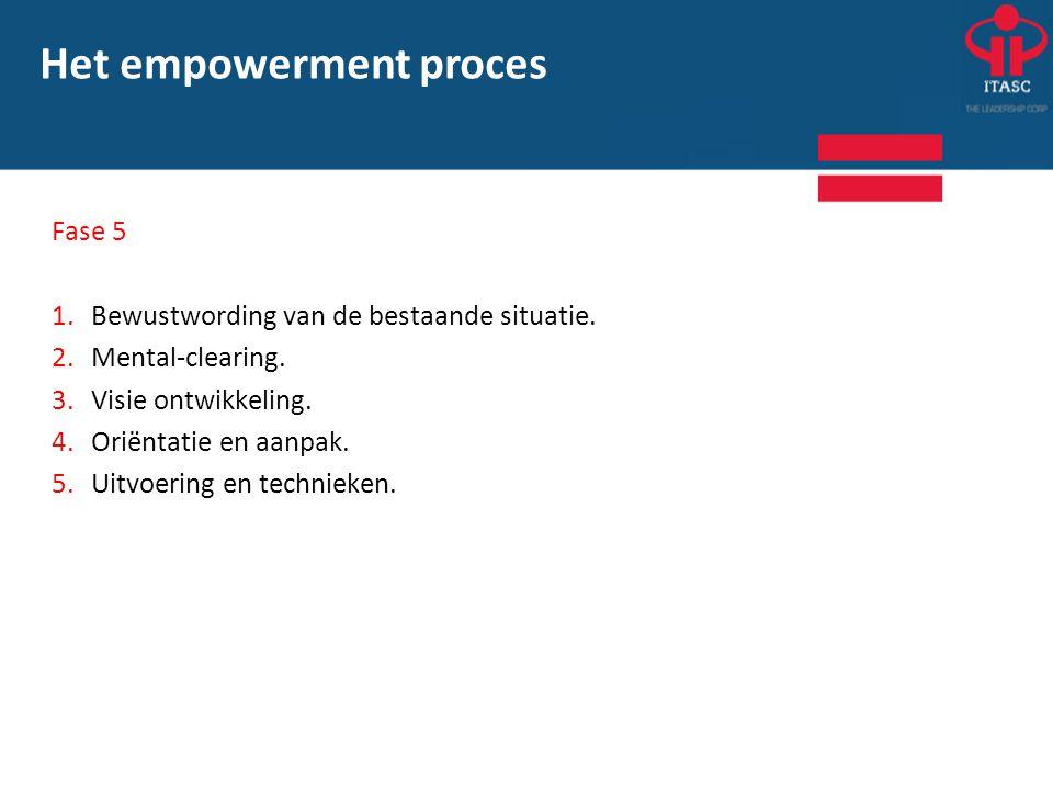Fase 5 1.Bewustwording van de bestaande situatie. 2.Mental-clearing. 3. Visie ontwikkeling. 4.Oriëntatie en aanpak. 5.Uitvoering en technieken. Het em