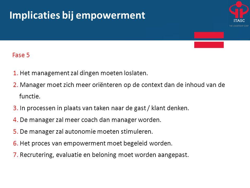 1. Het management zal dingen moeten loslaten. 2. Manager moet zich meer oriënteren op de context dan de inhoud van de functie. 3. In processen in plaa