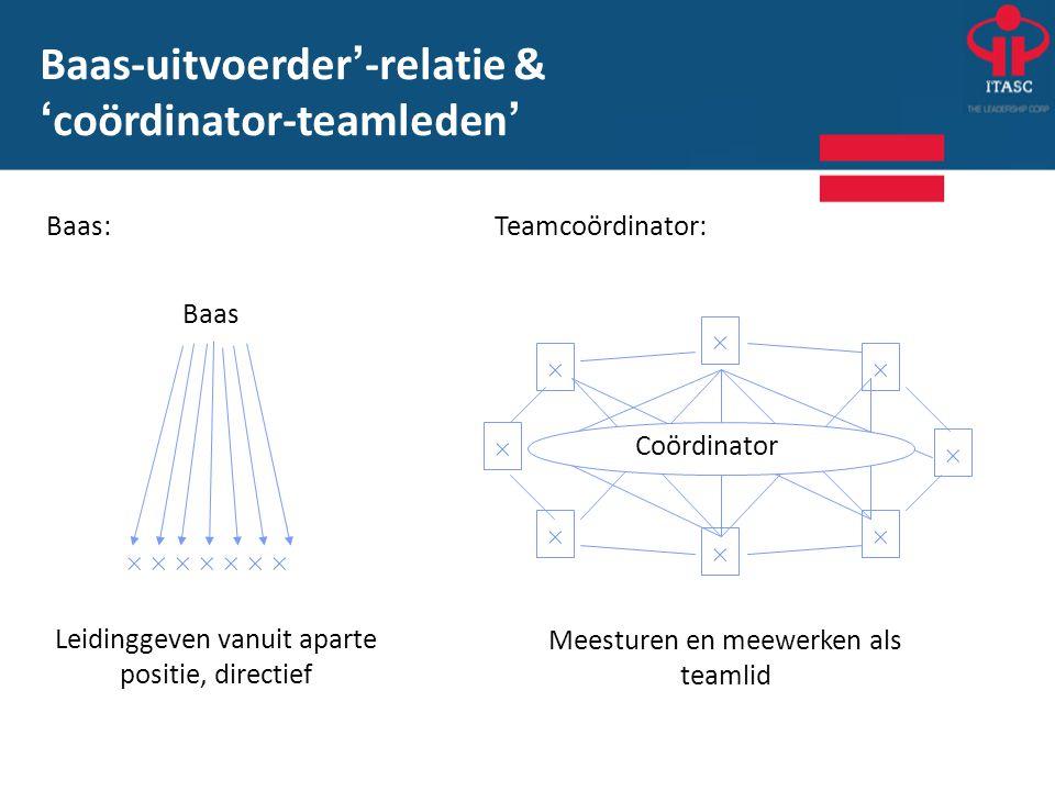 Baas:Teamcoördinator:  Baas                   Coördinator Leidinggeven vanuit aparte positie, directief Meesturen en meewerken a