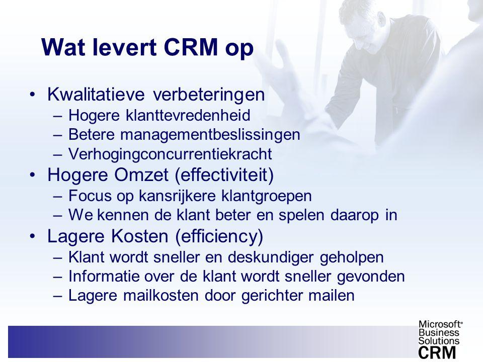 Wat levert CRM op •Kwalitatieve verbeteringen –Hogere klanttevredenheid –Betere managementbeslissingen –Verhogingconcurrentiekracht •Hogere Omzet (eff