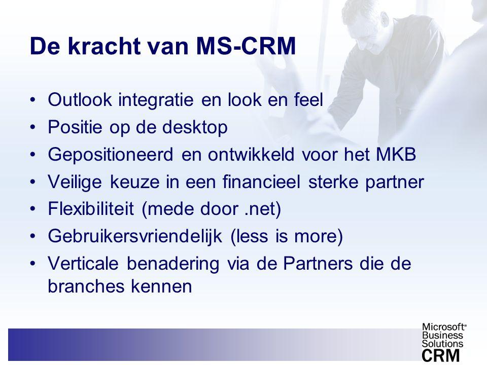 De kracht van MS-CRM •Outlook integratie en look en feel •Positie op de desktop •Gepositioneerd en ontwikkeld voor het MKB •Veilige keuze in een finan