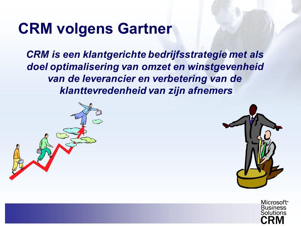 CRM volgens Gartner CRM is een klantgerichte bedrijfsstrategie met als doel optimalisering van omzet en winstgevenheid van de leverancier en verbeteri