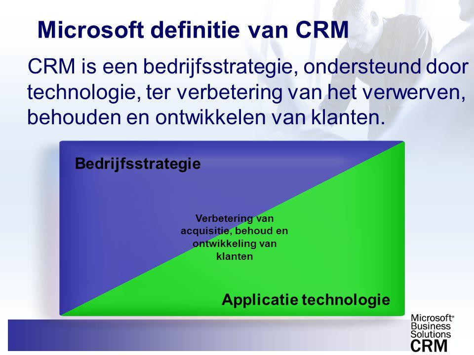 Microsoft definitie van CRM CRM is een bedrijfsstrategie, ondersteund door technologie, ter verbetering van het verwerven, behouden en ontwikkelen van