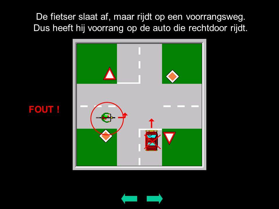 De fietser slaat af, maar rijdt op een voorrangsweg. Dus heeft hij voorrang op de auto die rechtdoor rijdt. FOUT !