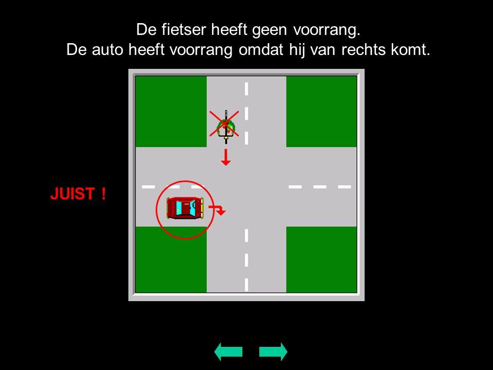 De fietser heeft geen voorrang. De auto heeft voorrang omdat hij van rechts komt. JUIST !