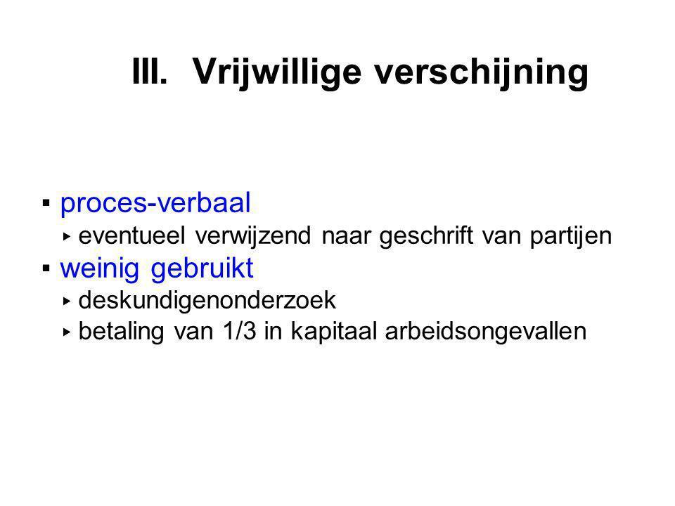 III. Vrijwillige verschijning ▪proces-verbaal ▸ eventueel verwijzend naar geschrift van partijen ▪weinig gebruikt ▸ deskundigenonderzoek ▸ betaling va