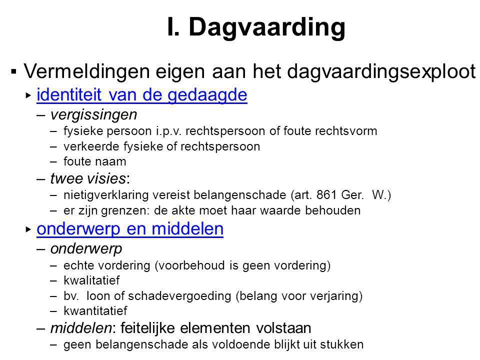 I. Dagvaarding ▪Vermeldingen eigen aan het dagvaardingsexploot ▸ identiteit van de gedaagde –vergissingen –fysieke persoon i.p.v. rechtspersoon of fou
