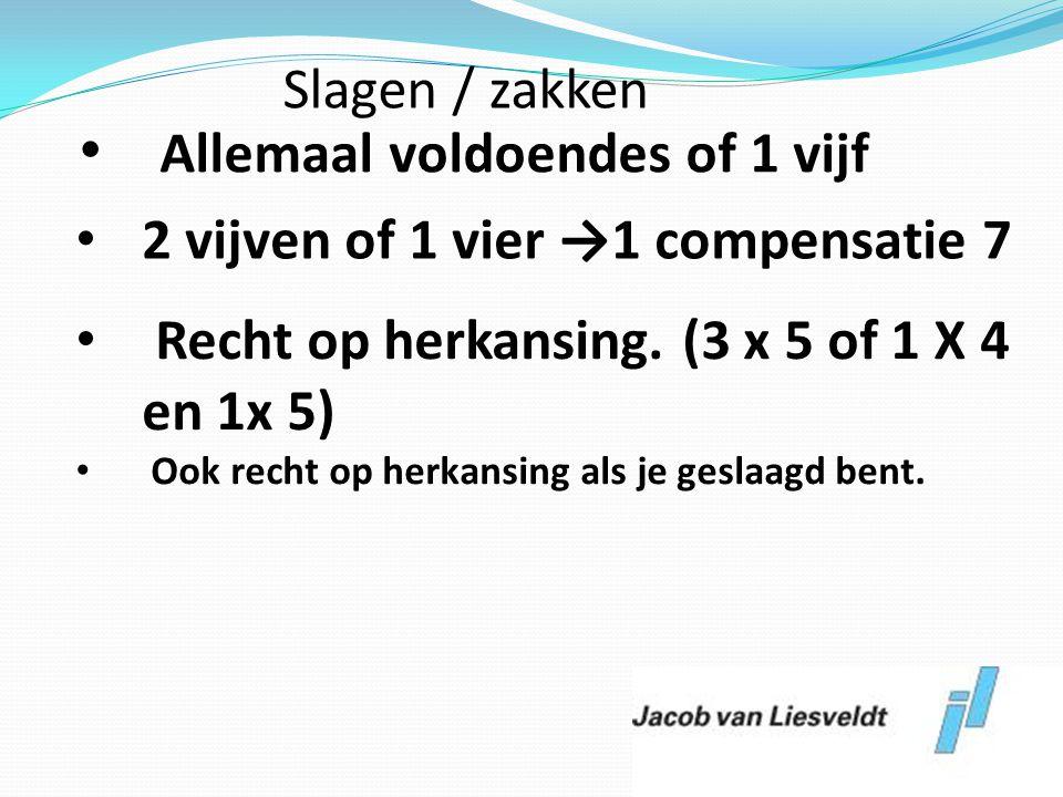 • Allemaal voldoendes of 1 vijf • 2 vijven of 1 vier →1 compensatie 7 • Recht op herkansing. (3 x 5 of 1 X 4 en 1x 5) • Ook recht op herkansing als je