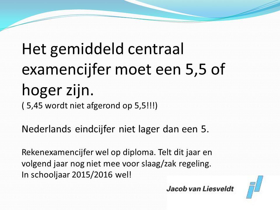 Het gemiddeld centraal examencijfer moet een 5,5 of hoger zijn. ( 5,45 wordt niet afgerond op 5,5!!!) Nederlands eindcijfer niet lager dan een 5. Reke