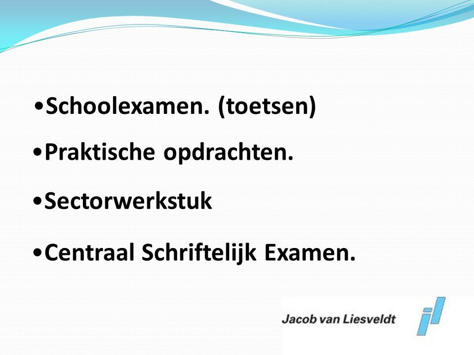 •Schoolexamen. (toetsen) •Praktische opdrachten. •Sectorwerkstuk •Centraal Schriftelijk Examen.