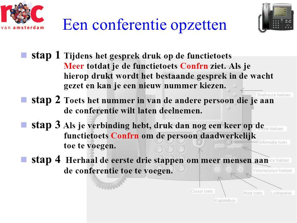 Een conferentie opzetten  stap 1 Tijdens het gesprek druk op de functietoets Meer totdat je de functietoets Confrn ziet. Als je hierop drukt wordt he
