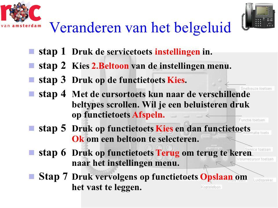 Veranderen van het belgeluid  stap 1 Druk de servicetoets instellingen in.  stap 2 Kies 2.Beltoon van de instellingen menu.  stap 3 Druk op de func