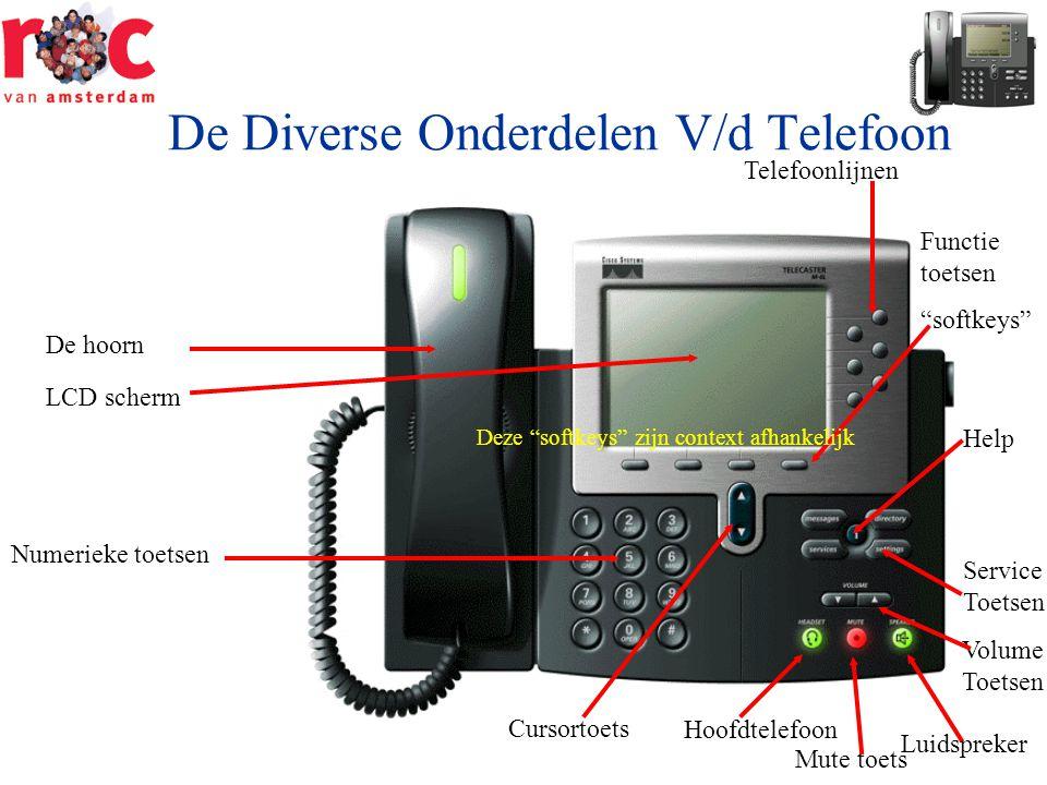"""De Diverse Onderdelen V/d Telefoon De hoorn LCD scherm Numerieke toetsen Telefoonlijnen Functie toetsen """"softkeys"""" Service Toetsen Volume Toetsen Luid"""