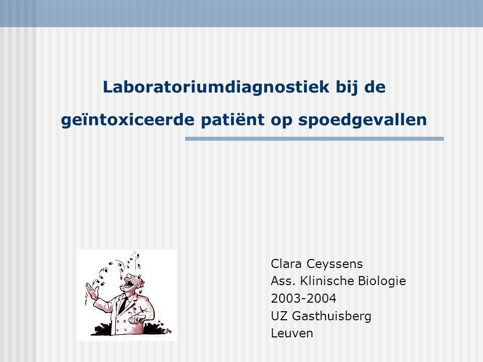 Laboratoriumdiagnostiek bij de geïntoxiceerde patiënt op spoedgevallen Biochemische en radiografische evaluatie  Routine laboratoriumtesten  RX-thorax  ECG  RX-abdomen (body packers) Toxicologische investigaties
