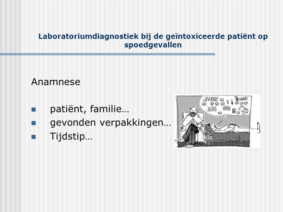 Laboratoriumdiagnostiek bij de geïntoxiceerde patiënt op spoedgevallen Anamnese  patiënt, familie…  gevonden verpakkingen…  Tijdstip…